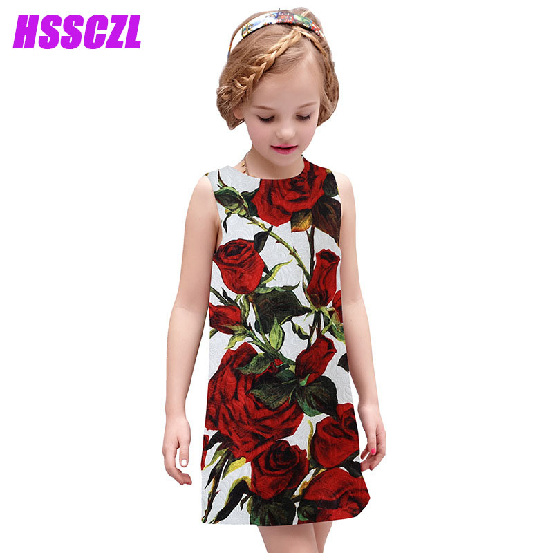 Подробнее о HSSCZL Girls Dresses 2017 Brand Summer Sleeveless Print Rose Pattern Fille Boutique Girl Dress Kids Children Baby Clothes Flower baby girl dress 2016 brand girls summer dress children clothing lemon print kids dresses for girls clothes robe princesse fille