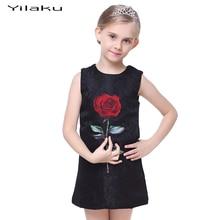 جديد وصول الطفل بنات حزب الفساتين روز الزهور مزيج القطن أكمام الركبة طول الفساتين للأطفال أطفال اللباس الرسمي CA301