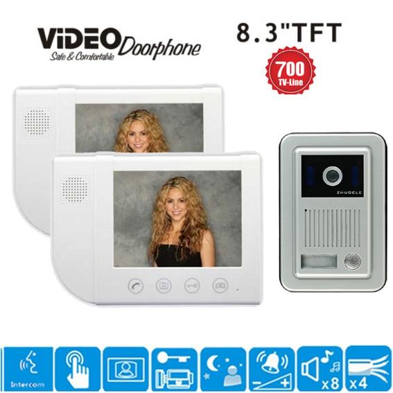 ZHUDELE 1Camera+2Monitors Luxury 8.3 video door phone home security intercom system doorbell 700 TVL HD camera waterproof cover