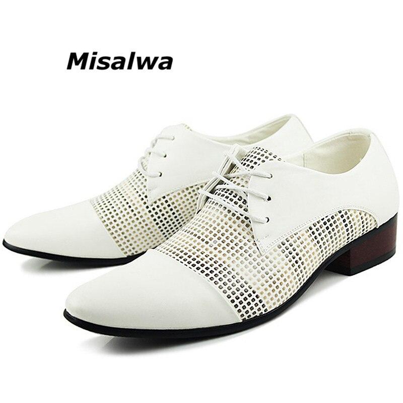 Misalwa Marque Printemps Classique Hommes de Derby Chaussures Blanc Noir En Cuir Respirant Creux Robe Hommes Chaussures Oxford Lacent Chaussures