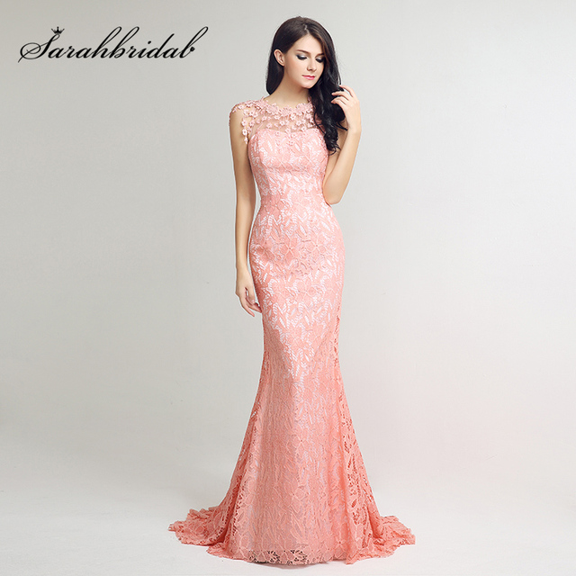 Hot Sale Blush Lace Mermaid Prom Dresses Long Appliques with Beading ...