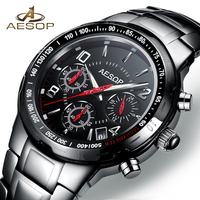 AESOP Black Sport Men Watch Quartz Wristwatch Military Waterproof Shockproof Ceramic Male Clock Relogio Masculino Hodinky