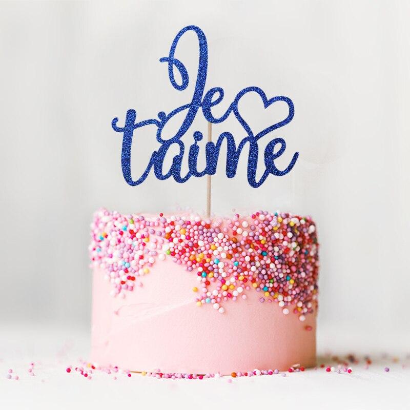 Je T'aime Cake Topper - Glitter tema de París Decoración de bodas - Para fiestas y celebraciones - foto 4