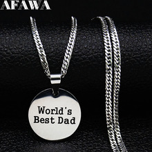 2019 Fashion World's Best Dad Stainless Steel Chain Necklaces Women Silver Color Statement Necklace Jewelry gargantilla N19201 2019 family stainless steel necklace women jewlery silver color dad mum and son statement necklace jewelry gargantilla n18018