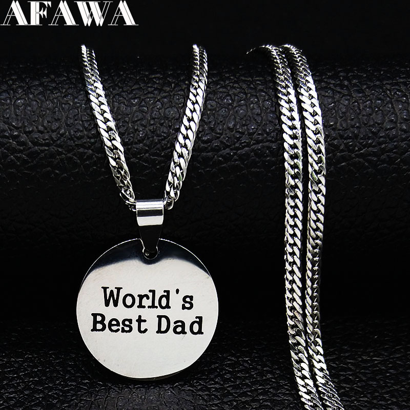 2020 Fashion Worlds Best Dad Stainless Steel Chain Necklaces Women Silver Color Statement Necklace Jewelry gargantilla N19201 image
