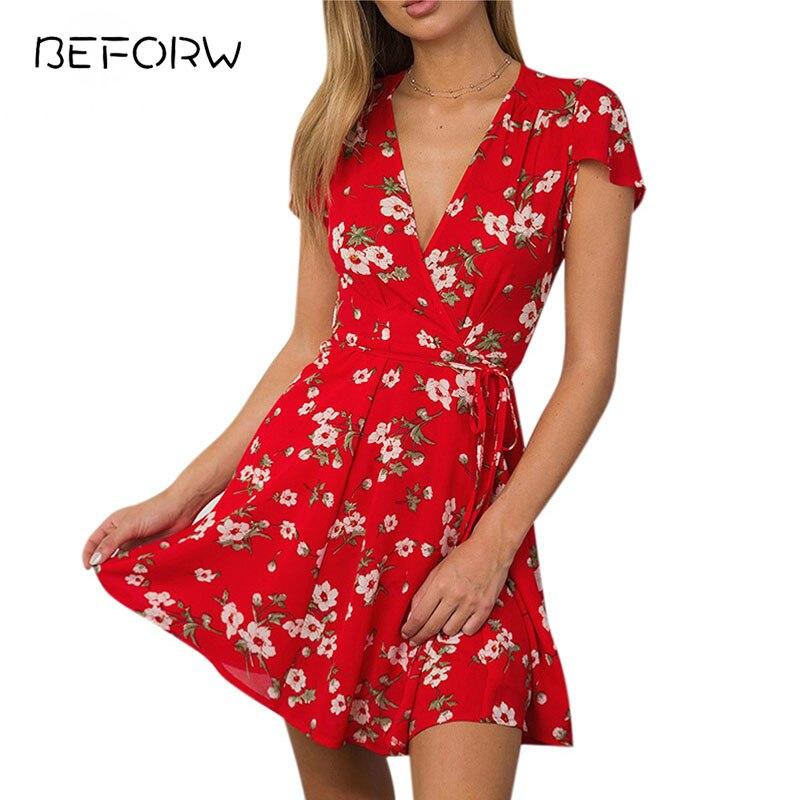 BEFORW 2018 Floral Print Boho Summer font b Dress b font font b Women b font