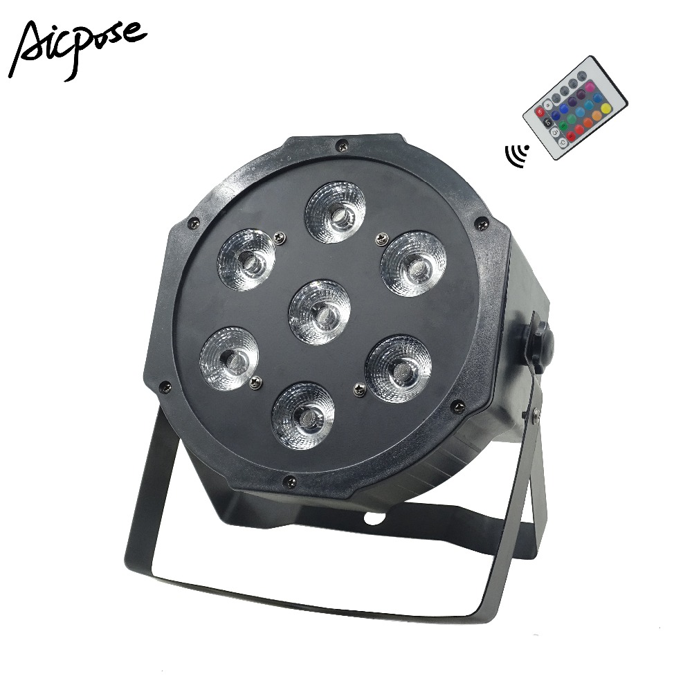 7x12W RGBW 4in1 Led Par Lights With Remote Control Big Lens Flat Par Led With DMX512 Disco Lights Professional Stage Lighting