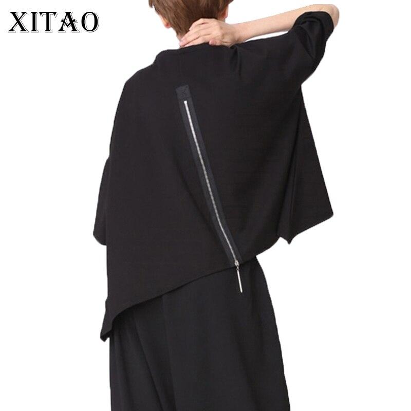 [XITAO] 2017 Europe mode nouvelle femelle d'été solide couleur retour fermetures à glissière o-cou pull moitié chauve-souris manches casual T-shirt YMT010