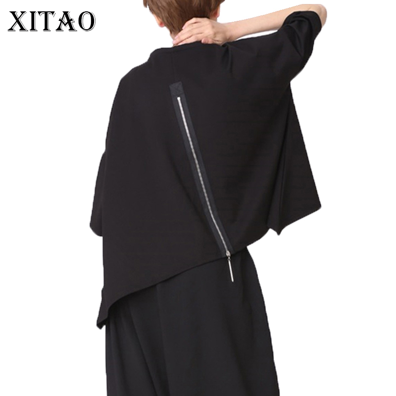 XITAO Back Zippers Black Women T Shirt Patchwork Plus Size Casual O Neck Half Batwing Sleeve Tide Korean Clothes Summer YMT010