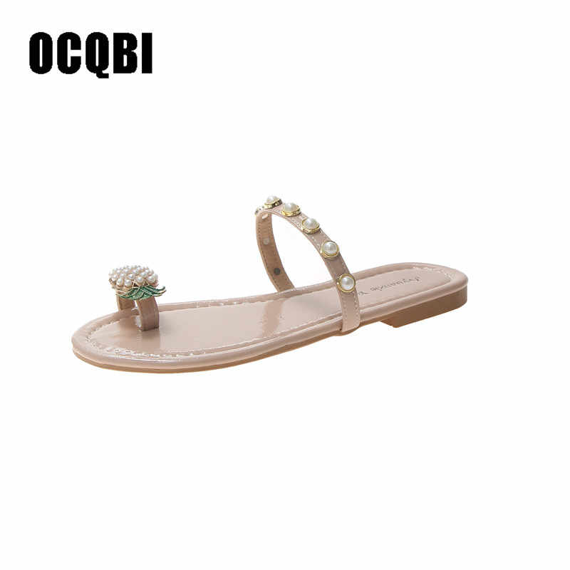 2019 Pineapple Beading Flip flops Woman Pearl Beaded Sandals Clip Toe Beach Slippers Flat Heel Slip On Pineapple Sandals Shoes