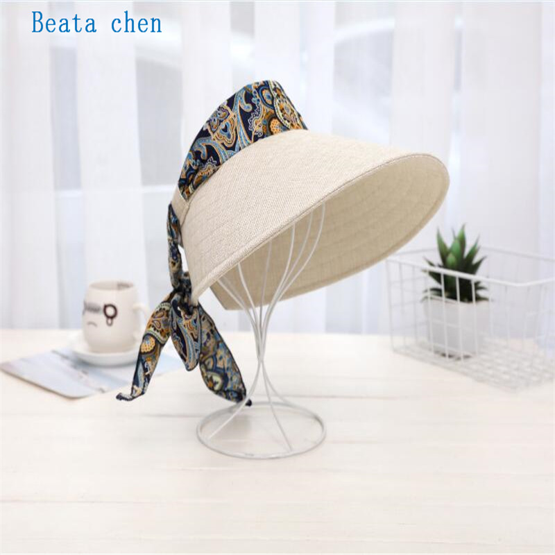 Beata Chen New Spring Summer Visors Cap Foldable Wide Large Brim Sun Hat Beach Hats for Women Straw Hat Wholesale