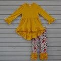 Moda outono Inverno Roupas de Criança Meninas Infantil Plissado Amarelo Encabeça Crianças Floral Calças 2 PCS Conjuntos de Roupas Bebê Recém-nascido F103