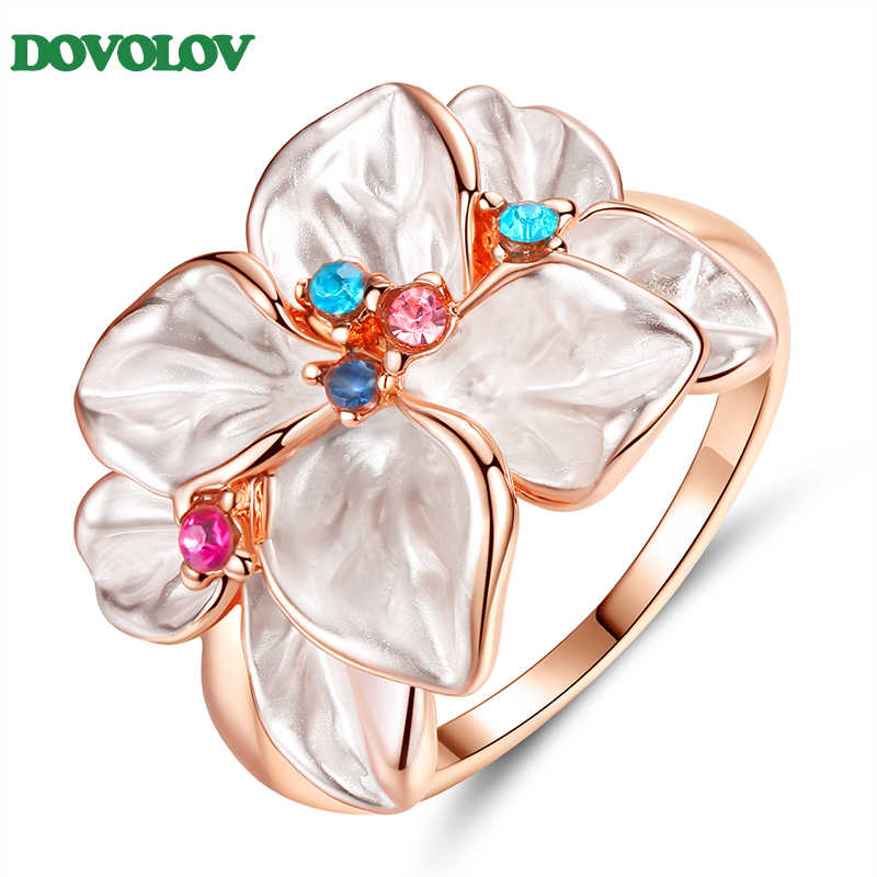 Dovolov Flower CZ Round Cubic Zirconia Wedding Ring For Women Fashion Jewelry Ladies Gifts Shaped Daisy Statement Ring D3