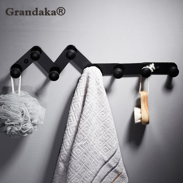 Black Antique Finish Bathroom Towel Hook Wall Door Hanger Clothes Robe Multi Function Telescopic 4 6 8 Hooks