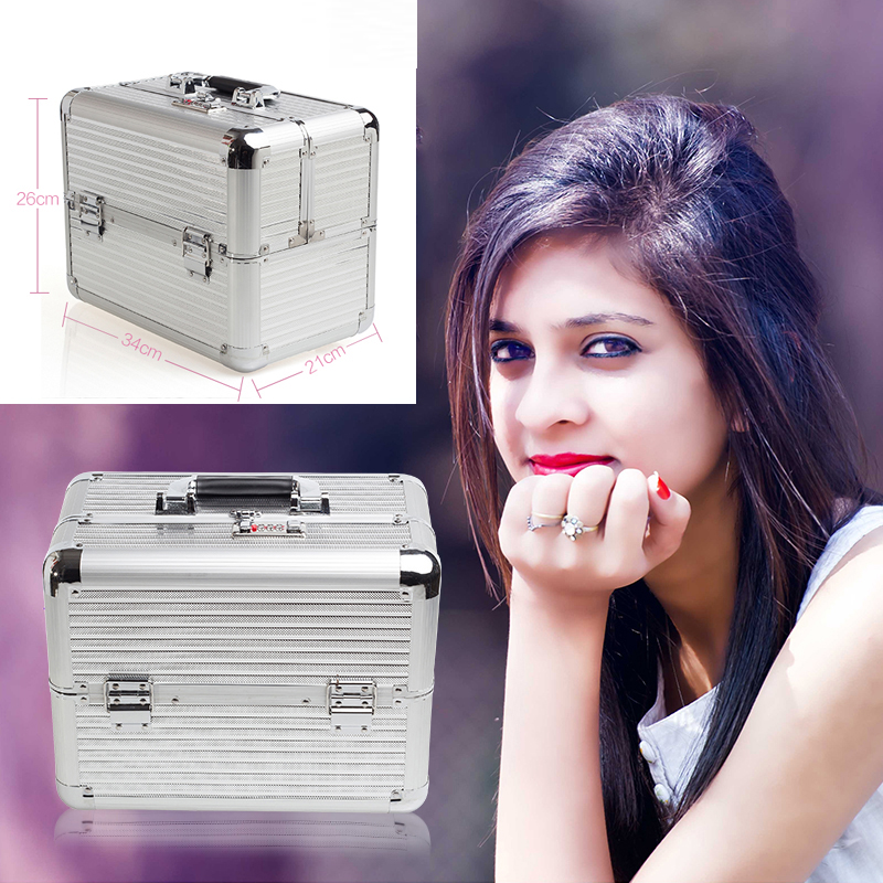 Aluminum Make Up Bag Case Portable Travel Jewelry Cosmetic Bag Organizer Box Beauty Vanity Brush Storage Bags Makeup Kit Tools new arrive hot 2pc set portable jewelry box make up organizer travel makeup cosmetic organizer container suitcase cosmetic case