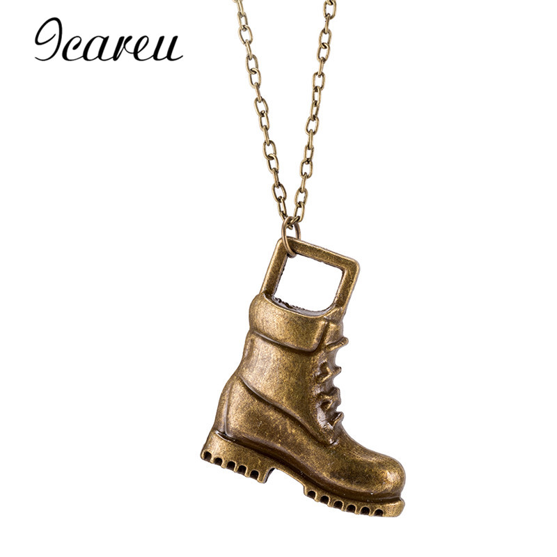 Icareu Fashion High Boots Designer Gold-Color Shoes Pendant Necklace Wholesale For Party AA01016