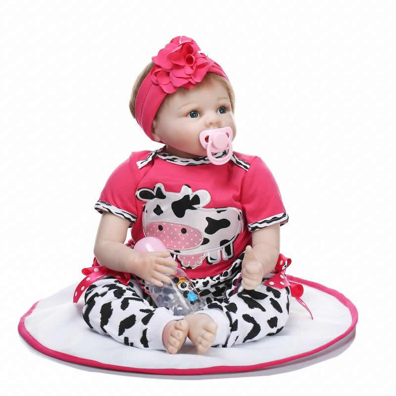 Soft Silicone 22 Inch Real Looking Reborn Baby Doll Newborn Girl Gift Toy Adorable Princess Babies Kids Birthday Xmas Gift 22 inch silicone reborn babies doll handmade newborn girl doll looking real baby reborns kids birthday xmas gift