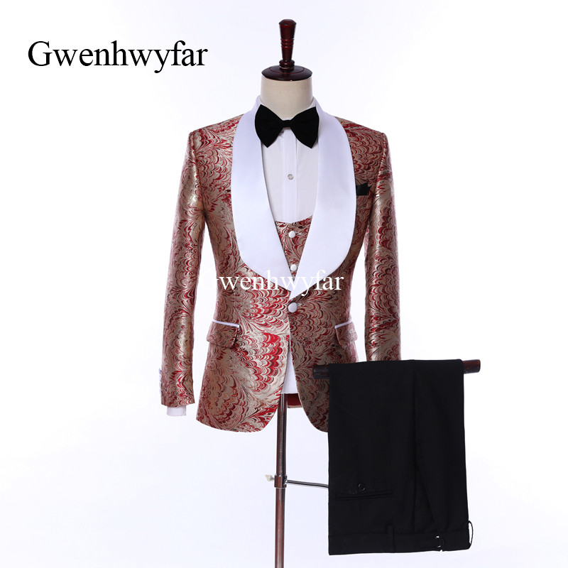 Gwenhwyfar Costume Homme Red Flower Business Men Party Suits 3 Pieces Slim Fit Wedding Tuxedos Groomsmen Best Man Formal Suits