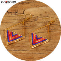Go2boho Dropshipping MIYUKI Triangle Earrings Gold Stainless Steel Earring Geometry Pattern Women Seed Beads Boho Jewelry Gifts