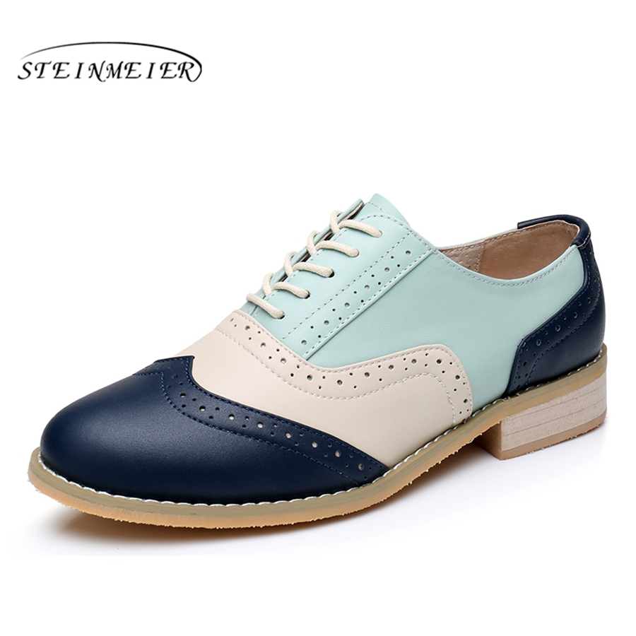100% Genuine cow leather casual designer vintage lady flat shoes handmade oxford shoes for women with fur blue beige pink silver simpla