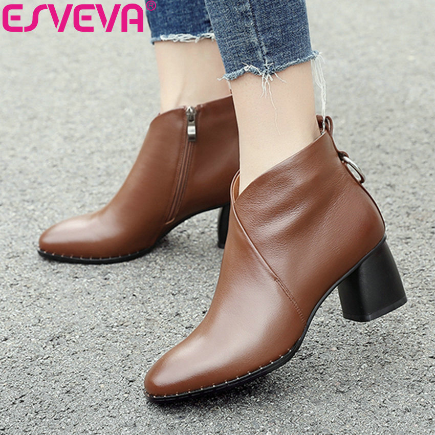 ESVEVA 2019 Woman Boots Chelsea Shoes Cow Leather Square Toe High Heels Shoes Zip Fashion Winter Women Ankle Boots Size 34-42 enmayla autumn winter chelsea ankle boots for women faux suede square toe high heels shoes woman chunky heels boots khaki black