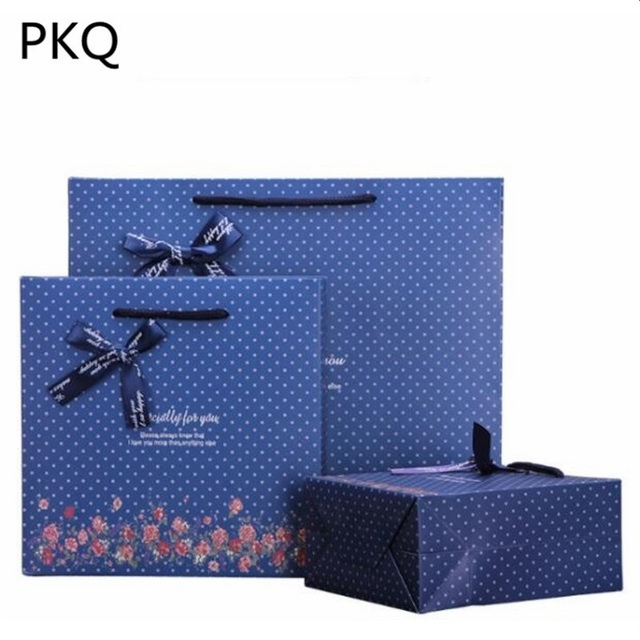 10PCS Small Large Blue Gift Bag Upscale Jewelry Perfume Birthday Gifts Packaging For You