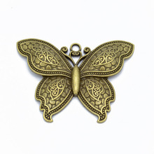 2pcs DIY Jewelry Findings Antique Silver/Bronze Large Butterfly Charms Pendants for Necklace Making 71x55mm