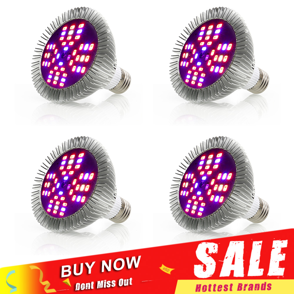 цена на 1-4pcs Full Spectrum 48W LED Grow Light E27 SMD5730 Plant Lamp For Seedling Vegs Growth Flower Hydroponic System