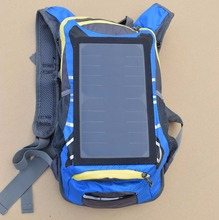 Boguang nylon waterproof travel solar power blue Riding small Backpack with 6v6w solar panel for mobile phone charger cell
