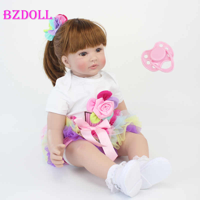 "60cm Reborn Toddler Doll Toys 24"" Like Real Vinyl Princess Babies Dolls Girls Bonecas Birthday Gift Play House"
