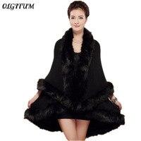 2018 Novas Mulheres Da Moda Feminina Longo Cachecóis de Lã Cashmere Faux Fox Fur Cape Casaco Cardigan venda quente