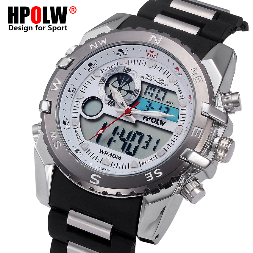 HPOLW Luxury Brand Steel Watch Men LED Sports Army Military Watches Men's Quartz Analog Digital Watch relogio masculino naviforce luxury brand full steel watch men led sports army military watches men s quartz analog digital watch relogio masculino