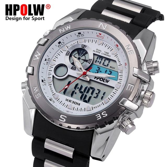 ae99ddb9644 HPOLW Relógio de Aço Marca de Luxo Exército Militar Dos Homens LEVOU Esportes  Relógios dos homens