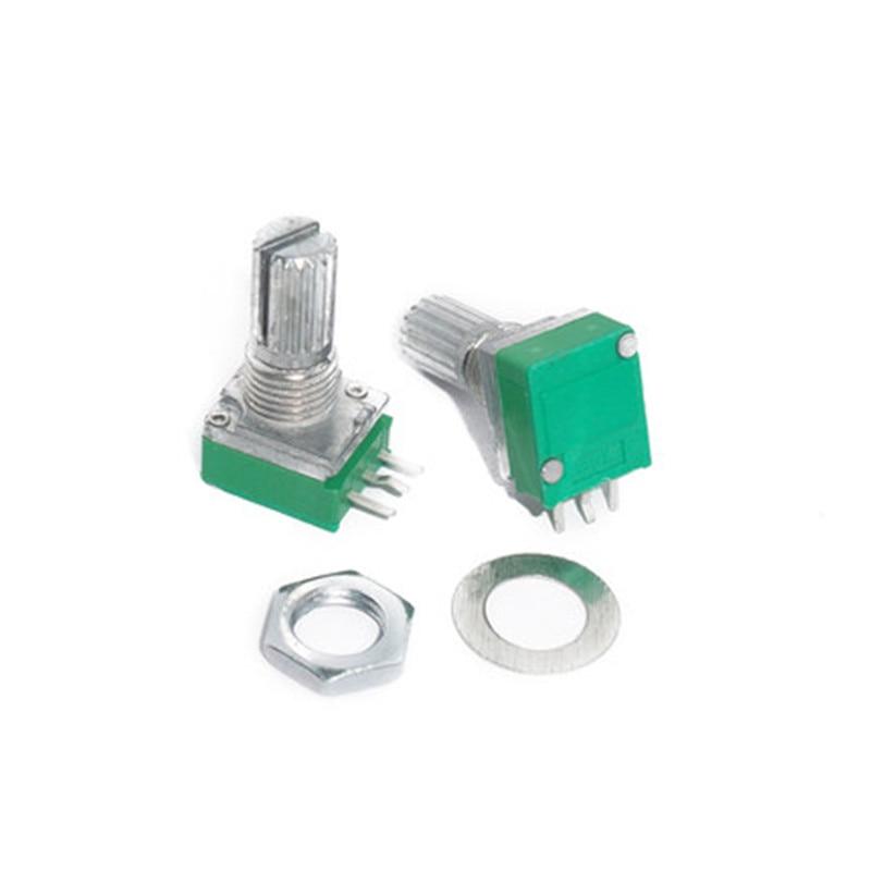 Color: B20K 10pcs Audio Amplifier Sealed Potentiometer 15mm Shaft 3pins RK097N B5K B10K B20K B50K B100K