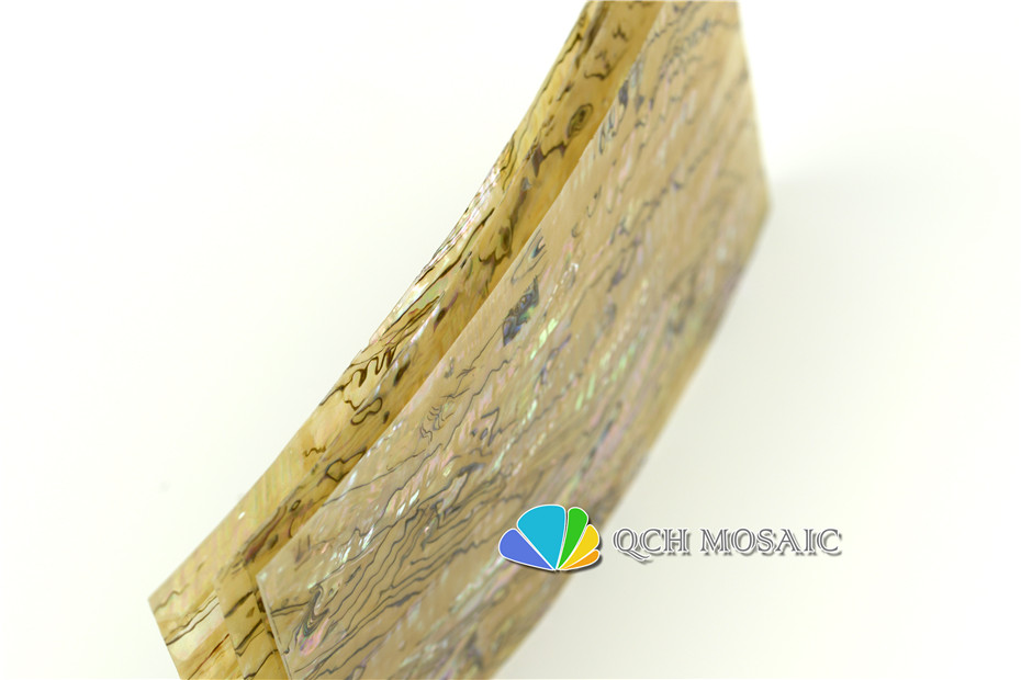 Купить с кэшбэком AAA grade Australian abalone paua shell laminate sheet for musical instrument and wood inlay natural yellow color