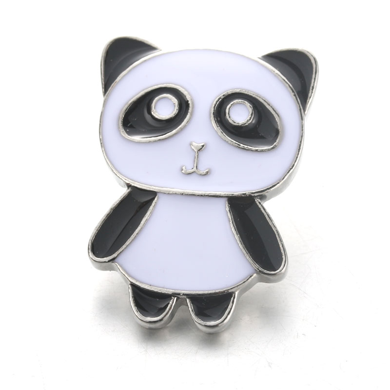 10pcs/lot Panda Snap Jewelry Boom Life Metal Rhinestone Snap Buttons Fit 18MM Snap Bracelet For Women DIY Charms 4503