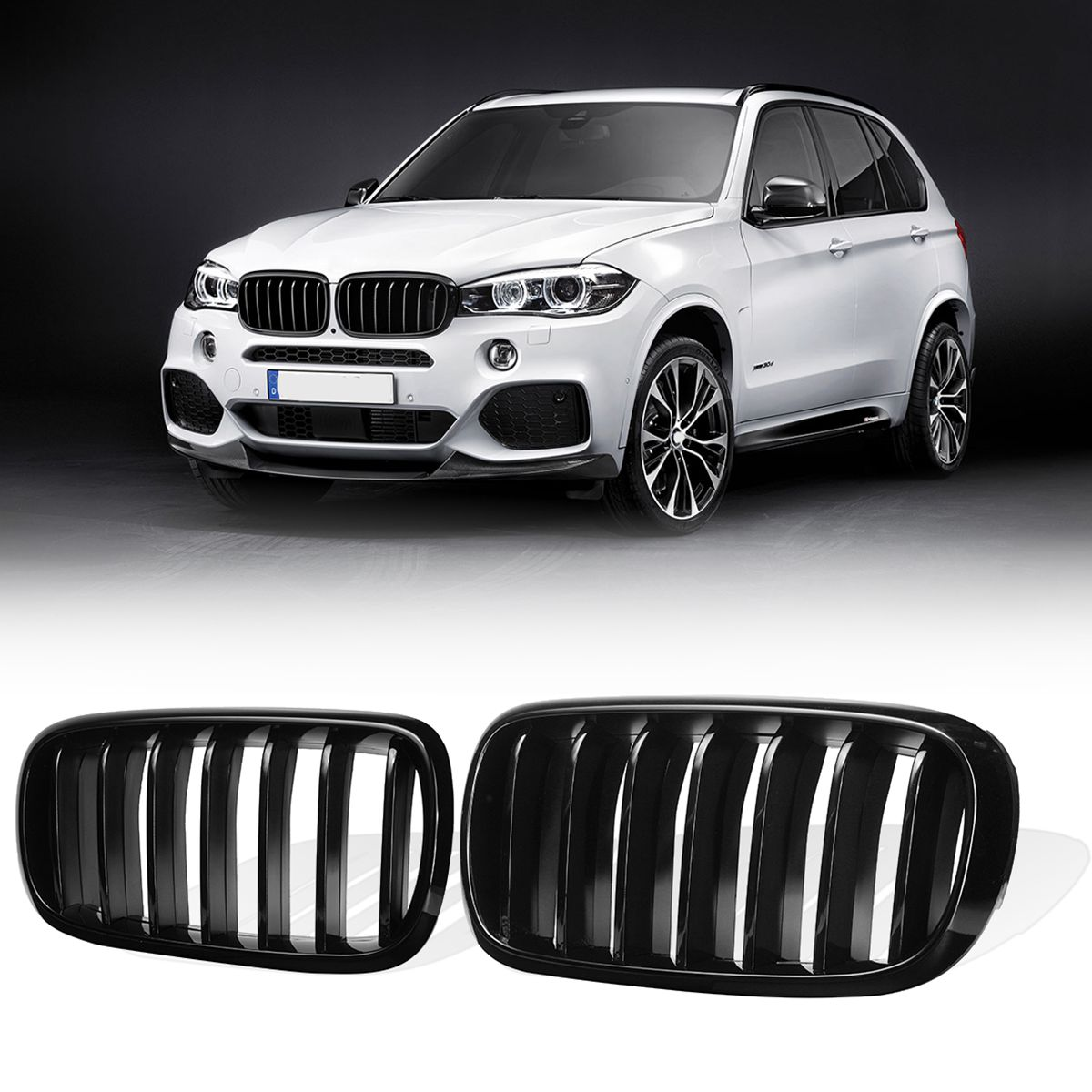 1 Pair Glossy Black Matte Black M Style Front Bumper Kidney Grill Grilles For BMW X5 F15 X6 F16 2014 2015 2016 2017 2018 x5 x6 m performance sport design m color front grill dual slat kidney custom auto grille fit for bmw 2015 2016 f15 f16 suv
