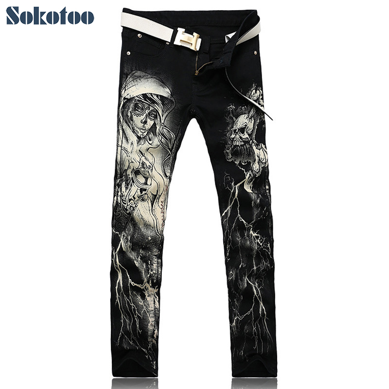 Sokotoo Men's Fashion Skeleton Skull Printed Jeans Male Slim Fit Black Denim Pants Long Trousers
