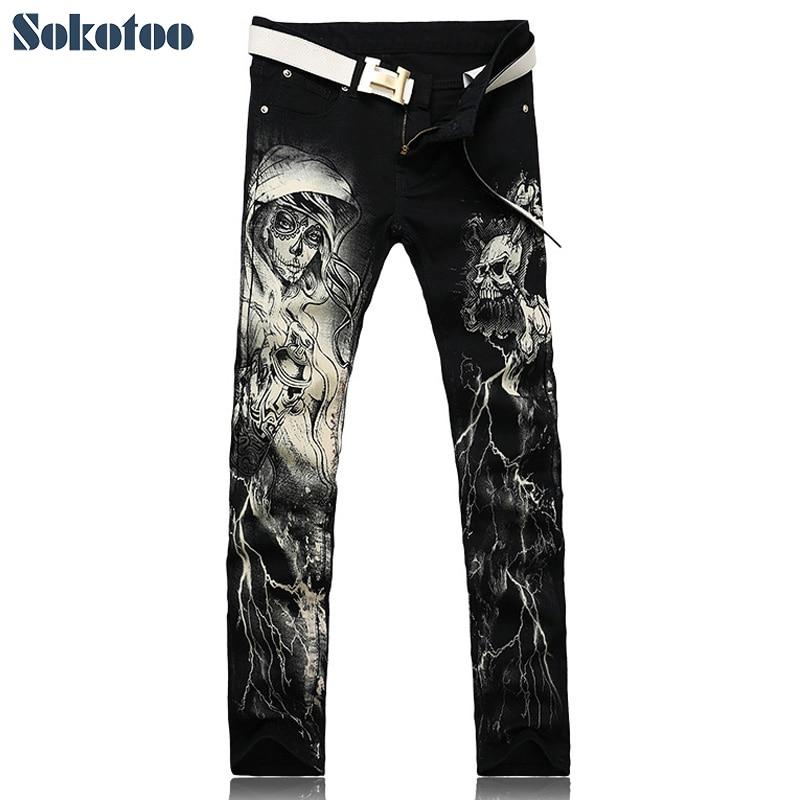 Sokotoo Men's Fashion Skeleton Skull Printed Jeans Male Slim Fit Black Denim Pants Long Trousers