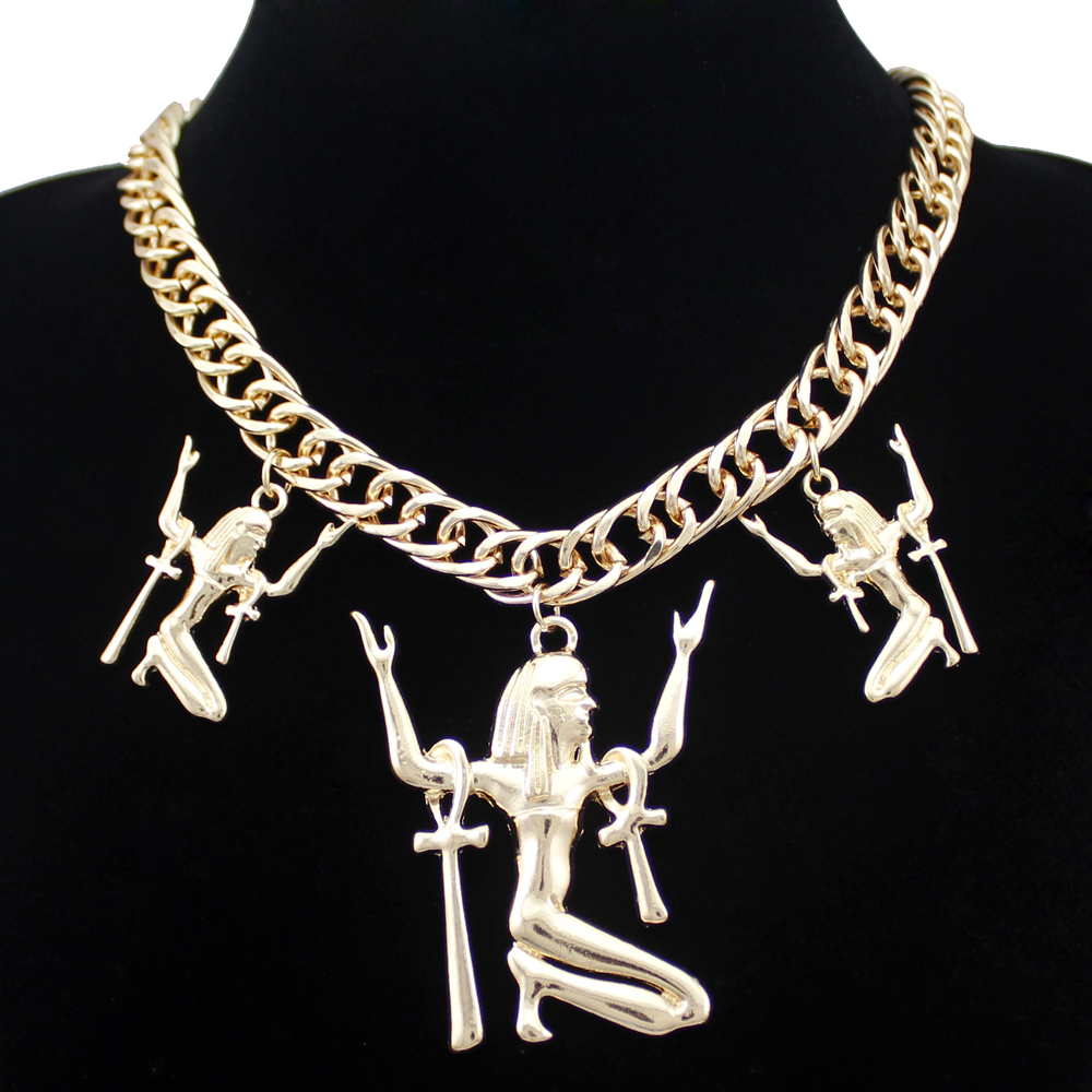 Egyptian Egypt Cleopatra Gold Goddess Triple ISIS Ankh Cross Pendant Statement Bib Chunky Chain Necklace Jewelry