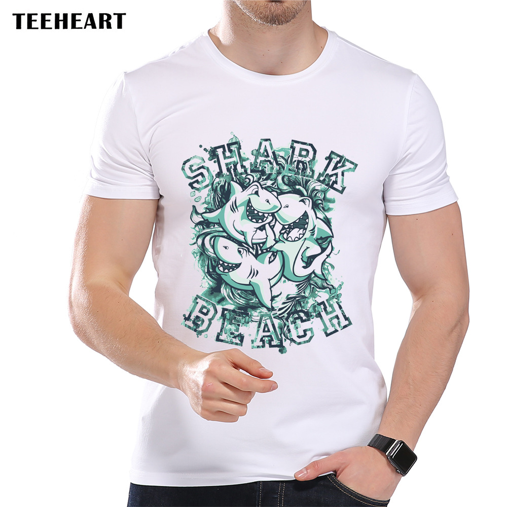 Buy teeheart men 39 s green retro shark for Luxury t shirt printing