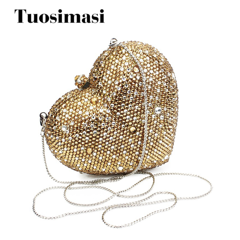 2016 gold color heart shape clutch bags dinner women purses with gold color chain(B1014-HG)