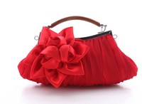 Women Evening Bags Floral Embellish Sheer Chiffon Exterior Party Clutch Evening Out Collection Female Shoulder bag