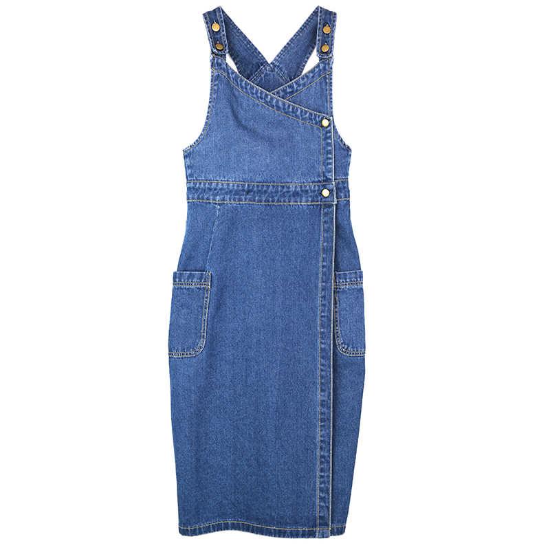 f88fc612fed950d ... Ремень платье из джинсовой ткани для Для женщин 2018 лето-осень модные  синие длинные джинсовые ...