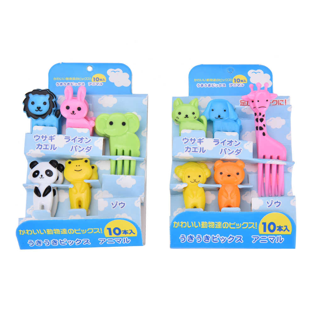10Pcs Cute Mini Animal Farm Cartoon Food Picks Children Snack Cake Dessert Food Fruit Forks Lunch Bento Accessories Party Decor