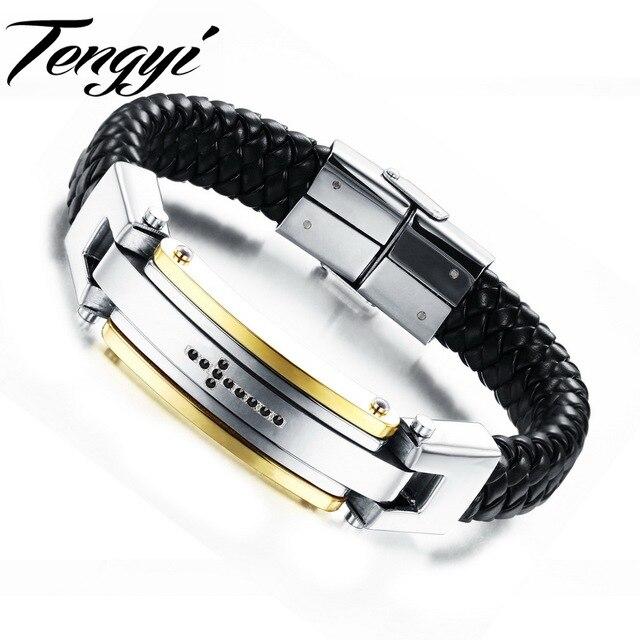 Clic Man Leather Bracelets Genuine Black Cross Bracelet Engraved European Style Pulseira Masculina 918