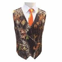 Махровый Дуб камуфляж мужские жилетки с галстуком для выпускного вечера для мужчин формальные жилет