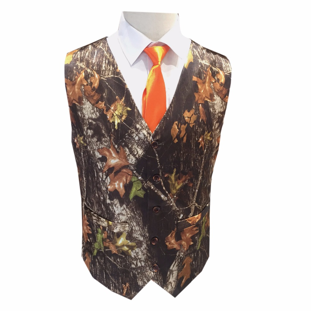 Mossy Oak Camouflage Man Vests With Tie For Prom  Men Camo Formal Vest Free Shipping