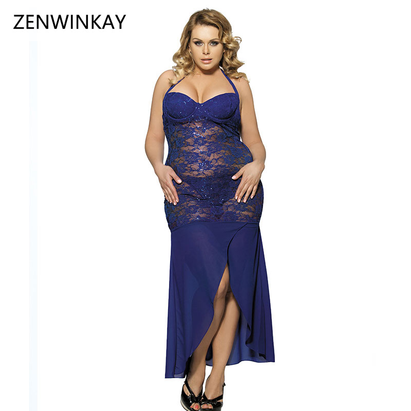 Female Sex Clothes Lace Sleepwear Sexy Fishnet Costumes Plus Size Women Porn Lingerie Nightwear Hot Erotic Porn Wear Long Dress
