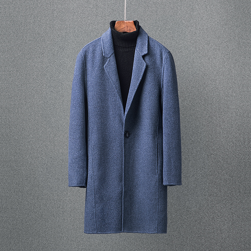 2018 new Winter Cashmere windbreaker Mens high quality alpaca fiber trench coat Mens casual 100% woolen coats men overcoat